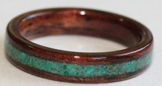 Wooden Wedding Rings: Dark Hawaiian Koa Wood Ring with a crushed JADE inlay.  The JADE is combined with a touch of MALACHITE in this design.