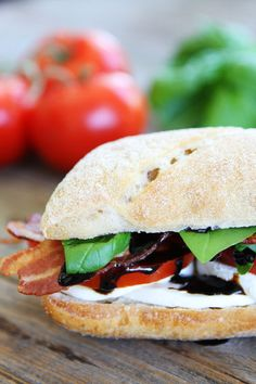 Bacon Caprese Sandwich - fresh mozzarella, tomato, basil, balsamic glaze, and bacon on hearty ciabatta bread. A little bacon or pancetta takes this classic Caprese sandwich from good to GREAT! Caprese Sandwich Recipe, Bacon Sandwich, Soup And Sandwich, Sandwich Ideas, Sandwich Recipes, Easy Healthy Recipes, Lunch Recipes, Easy Meals, Pork Recipes