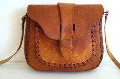Shoulder Bag Vintage Genuine Leather Bag Handmade by vintagdesign