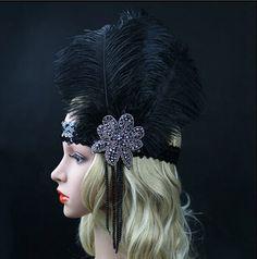 Black Ostrich Rhinestone Feather Headpiece Vintage Party Wedding Headband Flapper 1920s Great Gatsby Hot Hair Band WLL9099