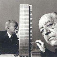 The Seagram building, designed by Mies van der Rohe in collaboration with Philip Johnson, completed in 1958