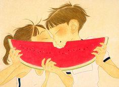 Watermelon / Ikumi Nakada / oil on paper / 2019 Retro Art, Kinds Of People, Sticker Design, Beauty Photography, Art Inspo, Colored Pencils, Illustration Art, Illustrations, Anime Art