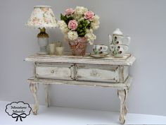 Miniature Dollhouse Sideboard Shabby Chic Style With by Minicler Pretty :)