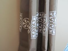 The Hand Me Down House: No-Sew Painted Drapes Stenciling is an idea to add some pizazz to my solid colored drapes.