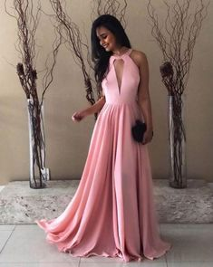 Plus Size Prom Dress, Pretty Pink Halter Chiffon Prom Long Dresses Open Back Evening Gowns Shop plus-sized prom dresses for curvy figures and plus-size party dresses. Ball gowns for prom in plus sizes and short plus-sized prom dresses Prom Dresses Long Pink, Simple Bridesmaid Dresses, A Line Prom Dresses, Homecoming Dresses, Prom Long, Party Dresses, Halter Dresses, Chiffon Dresses, Dress Prom