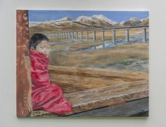 """Saatchi Art is pleased to offer the painting, """"Tibetan Monk,"""" by Felix Heinrich. Original Painting: Acrylic on Canvas. Art Intervention, Architecture Art, Saatchi Art, Original Paintings, Germany, Child, Canvas, Artist, Butterfly House"""