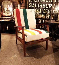 I grew up with a chair like this, but this one has a beautiful horse hair upholstery