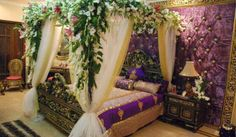 Romantic Bedroom decoration ideas for Wedding Night is one of the most attractive function. In Wedding Night Romantic Bedroom decorating id. Bridal Room Decor, Wedding Night Room Decorations, Romantic Room Decoration, Romantic Bedroom Design, Hall Decorations, Diwali Decorations, Flower Decoration, Wedding Bedroom, Wedding House
