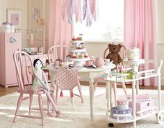 I love the Pottery Barn Kids Tea Party Playroom, if I did the chairs red for Emy pops Tea Party Table, Little Girl Rooms, Little Girls Playroom, Kids Room, Pottery Barn Playroom, Pottery Barn Kids, Daycare Design, Fabric Chandelier, Playrooms