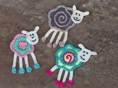 Colorful sheep crochet applique | MyCrochetProjects