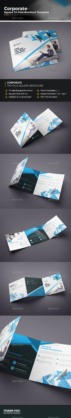 Square Tri-fold Brochure  — EPS Template #brochure template #proposal • Download…