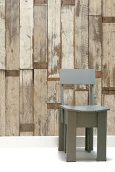 WallPAPER and recycled wood chair by Piet Hein Eek