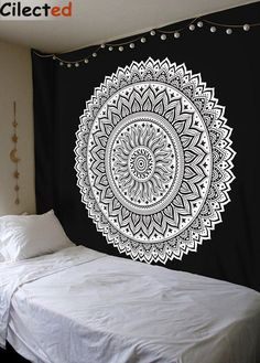 Cilected New Launched Black White Mandala Wall Hanging Tapestry Dorm Decoration Tapestry Boho Mandala Throw Home Decor Wall Art