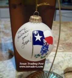 Hand painted by Texas artist, Jo Pollock - great Texas Christmas gift that will be treasured for years!