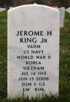 Jerome H. King, Jr - US Navy Admiral. He began his Naval career in World War II and was one of the first Navy ROTC graduates to rise to the rank of three-star admiral. After the war, he held several key positions in the Navy, including director for operations of the Joint Chiefs of Staffs and commander of the Navy Nuclear Weapons Training Center.