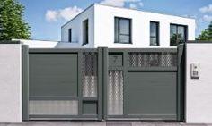 Portail battant I-500 avec lames larges horizontales et personnalisation N° de maison