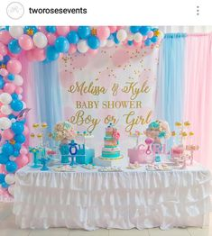 Gender Reveal Party Dessert Table and Decor