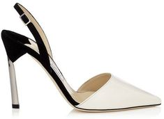 Devleen Off White Patent and Black Suede Pointy Toe Sling Backs with Metallic Heel