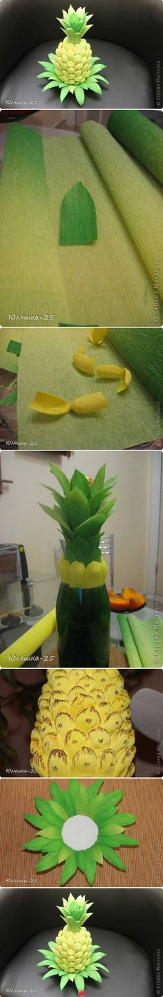 a bottle as a pineapple. pretty clever, good as a gift