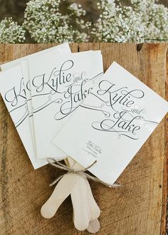 Program Fans by http://www.etsy.com/shop/HeSawSparks/ Photography by heathercurielweddings.com