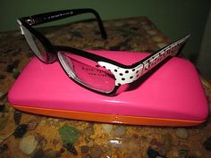 Kate Spade polka dot glasses - these are the ones i want!! Tried them on when a rep came by