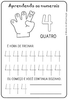 Exercises to Count on the Fingers – Drawings For C …- Exercícios para Contar … Preschool Number Worksheets, Pre K Worksheets, Preschool Writing, Numbers Preschool, Printable Activities For Kids, Preschool Learning Activities, Kindergarten Worksheets, In Kindergarten, Kids Learning