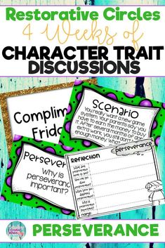 Conduct restorative circles in your classroom with these ready to use templates that are full of questions, discussion topics and ideas that can be used during circle time. This product stems around the character trait of perseverance and includes discuss