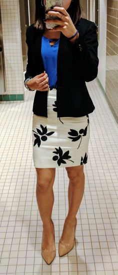 Business casual - I like the colors, shapes, bold simple pattern with solid pieces, but the skirt looks a little tight here.