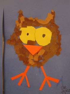 Owl craft-- tearing paper great for fine motor skills.