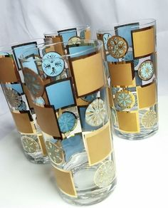 Vintage Mid Century Modern Tumblers Gold & Turquoise Mod Bar Ware (4)…