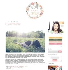 Harper Anne premade blogger blog template - Luvly Marketplace | Premium Design Resources #blogger #templates