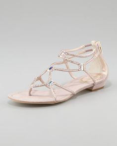 Crystallized Flat Thong Sandal by Rene Caovilla at Neiman Marcus.