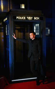 David Tennant and the TARDIS (aka Sexy). Most beautiful couple in all of space and time!