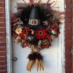 Thanksgiving Fall turkey wreath by UniqueThingamajigs on Etsy