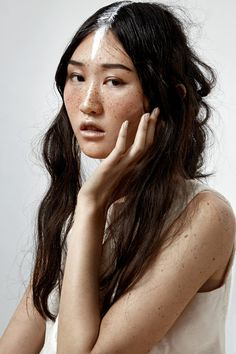 beauty editorial asian freckles hair paint by photographer Genevieve Belanger // fashion editorial portrait and beauty photographer Montreal inspiration creative simple artistic feminine timeless studio photography