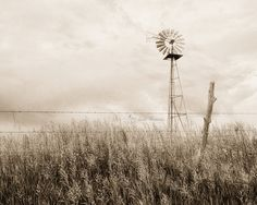 Windmill Photography, Rustic Farmhouse Wall Art, Living Room Art, Country Decor, Sepia Landscape Print,  | 'Aermotor'