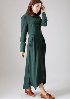 casual dress woman Maxi linen dress long sleeve dress in dark green (505)