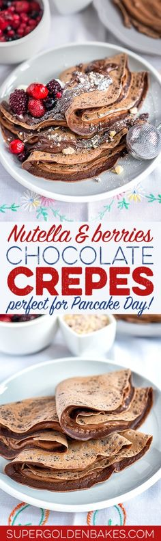Chocolate crêpes with Nutella and mixed berries - perfect for an indulgent brunch or quick dessert.