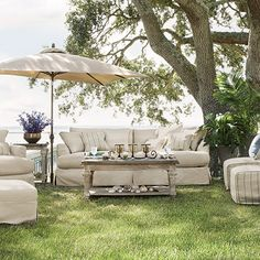 Emory Flax Outdoor Grand Slipcovered Sofa