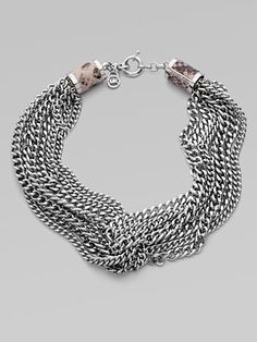 Michael Kors  Silvertone Multi-Row Chain Necklace
