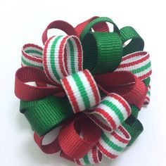 "Red & Green #Christmas #Handmade 2.5"" Hair #Bow, Christmas Stripe #Hair Bow, 2.5 inch Handmade Hair Bow, Christmas Handmade Hair Bow #Barrette by #CupcakesClipShop on #Etsy"
