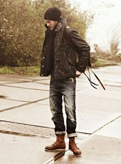 Black leather jackets and beanies are very urban casual #wefashion #mensfashion