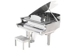 """GRAND PIANO 3-D LASER MODEL Just pop out the pieces from metal sheets, put them together (the metal tabs require no glue), and display your tiny museum-quality replica. Approx. 3""""."""