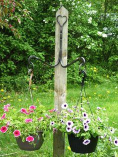 Wrought iron double plant hanger