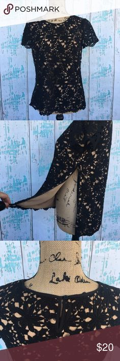 Talbots black crochet lace lined top size 6 Talbots black crochet lace lined top size 6. Side zipper that opens up high to help put on as shown in 2nd photo. Talbots Tops Blouses