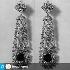 "createurdeclassemagazine: "" #Repost @boucheron ・・・ #ThrowbackThursday : These diamond and sapphire pendant earrings were ordered by Almina Herbert, Countess of Carnarvon in 1924 ✨ #Boucheron #tbt """
