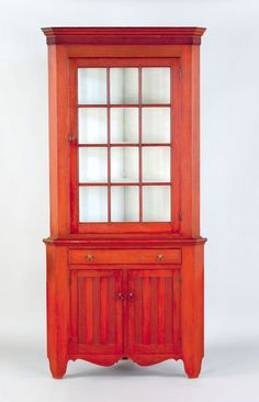 red stained two-part corner cupboard, ca. Corner Hutch, Corner Cupboard, Cupboard Doors, Corner Cabinets, Cupboards, Primitive Furniture, Antique Furniture, Painted Furniture, Painted Boxes