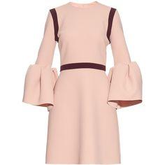 Roksanda Hadari bell-sleeved stretch-cady dress (16 520 ZAR) ❤ liked on Polyvore featuring dresses, light pink, light pink dress, roksanda, pink color block dress, colorblock dress and flared sleeve dress
