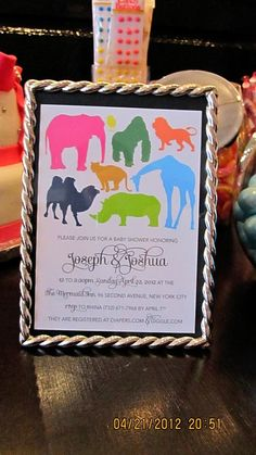Modern safari animal themed invite