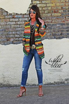 - PRE-SALE (Fall Delivery) - De Colores Serape Blazer - Concho Buttons - Model is 5'5, Size 0 and wearing Medium (she needed XS)